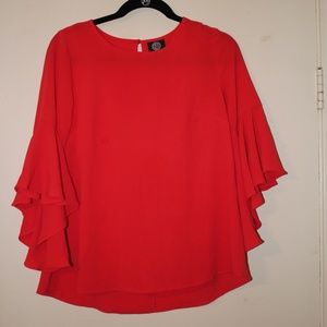 Red Long Sleeve Blouse